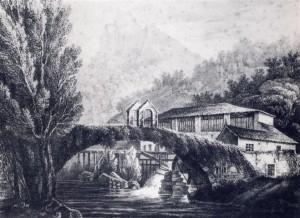 1. La Cartiera Avanzini, nella Valle del Toscolano, in un'incisione degli anni Trenta dell'800