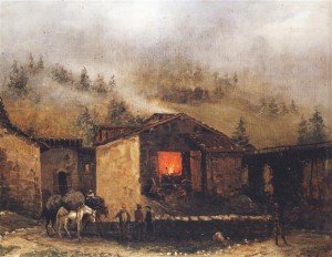 2. Una fucina dell'alta Val Trompia attorno alla metà dell'800 in un quadro attribuito a Faustino Joli