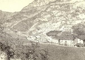 """4. Il forno fusorio di Tavernole sul Mella nell'incisione pubblicata su """"L'Illustrazione italiana"""" nel 1885"""